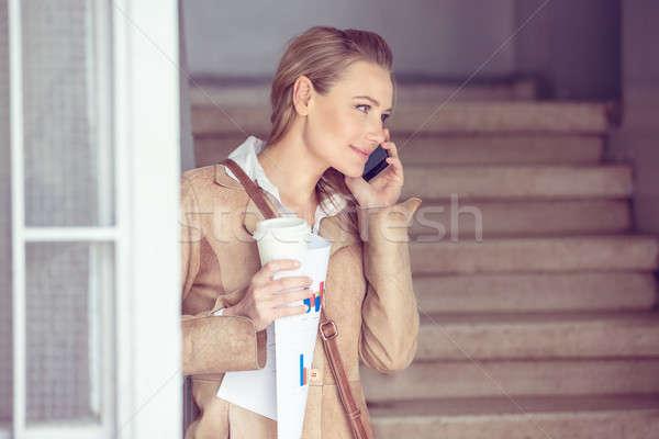 Stok fotoğraf: Güzel · öğrenci · kız · portre · sarışın · konuşma