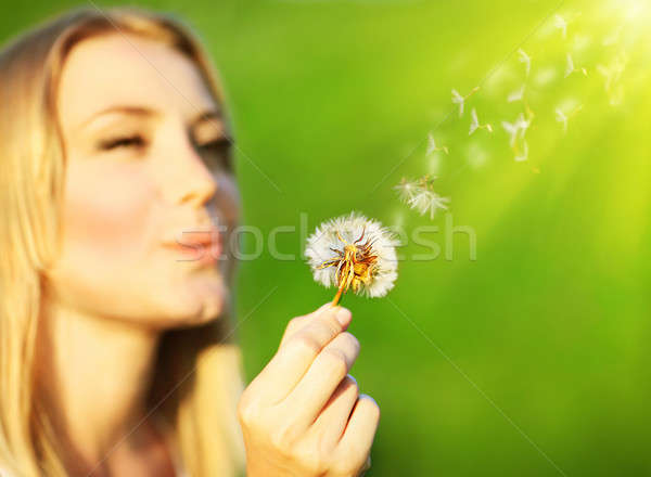 Happy beautiful girl blowing dandelion  Stock photo © Anna_Om