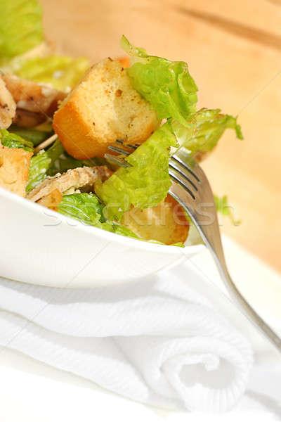Tyúk cézár saláta friss egészség konyha zöld Stock fotó © Anna_Om