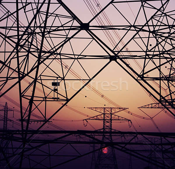 Abstract background of electricity pylons Stock photo © Anna_Om