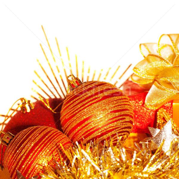 Stock fotó: Karácsonyfa · golyók · keret · kép · piros · dekoráció