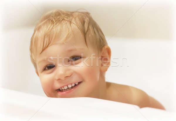 Stock fotó: Baba · fiú · fürdik · kép · aranyos · elvesz