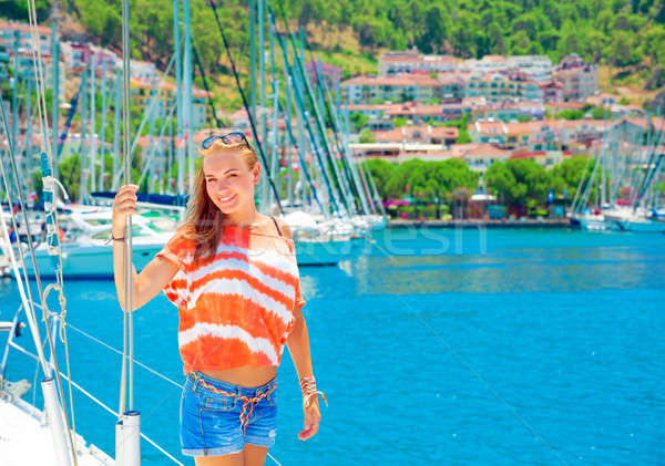 Cute girl in yacht harbor Stock photo © Anna_Om