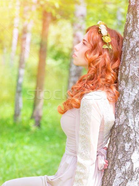 Rüya gibi kadın park yandan görünüş sevimli bakıyor Stok fotoğraf © Anna_Om