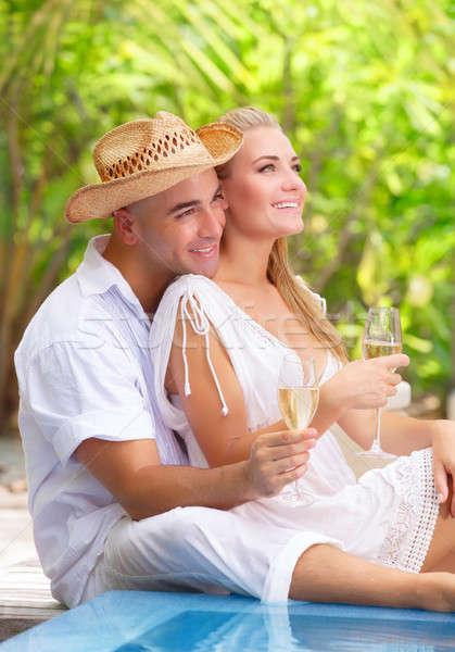 Romantische huwelijksreis vakantie twee mensen liefde vergadering Stockfoto © Anna_Om