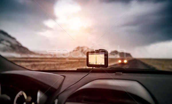 Stock photo: GPS navigator in the car
