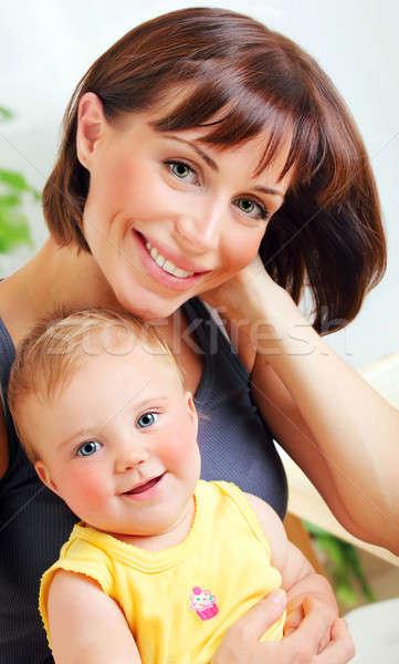 Portre gülen anne bebek mutlu aile kadın Stok fotoğraf © Anna_Om