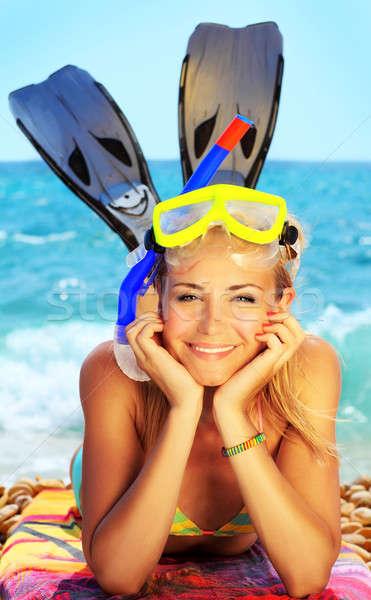 Lata zabawy plaży piękna kobiet Zdjęcia stock © Anna_Om