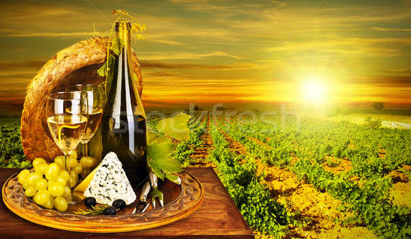 Wine and cheese romantic dinner outdoor Stock photo © Anna_Om