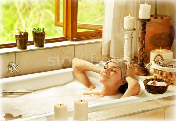 Woman taking bath Stock photo © Anna_Om