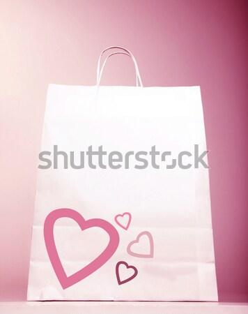 Alışveriş çantası kalp görüntü beyaz yalıtılmış pembe Stok fotoğraf © Anna_Om