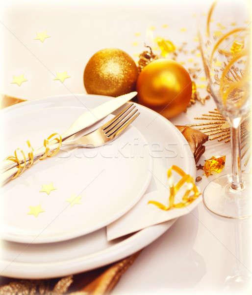Stok fotoğraf: Lüks · Noel · tablo · dekorasyon · fotoğraf · beyaz