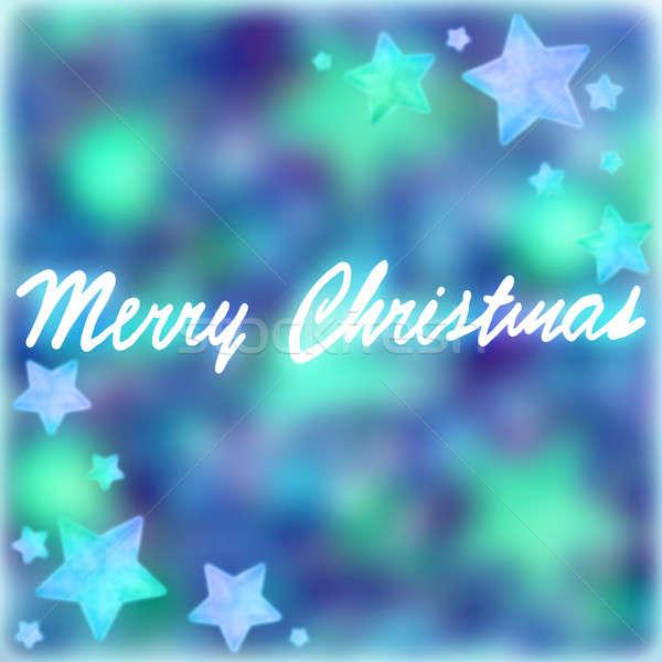 Vrolijk christmas briefkaart handschrift tekst Blauw Stockfoto © Anna_Om