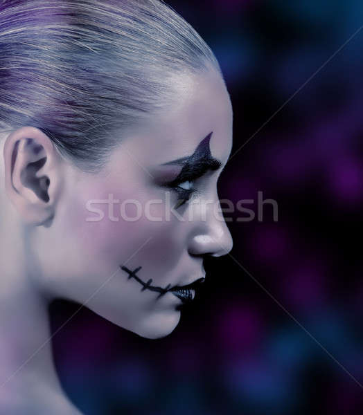 модный зомби девушки вид сбоку пресмыкающийся макияж Сток-фото © Anna_Om
