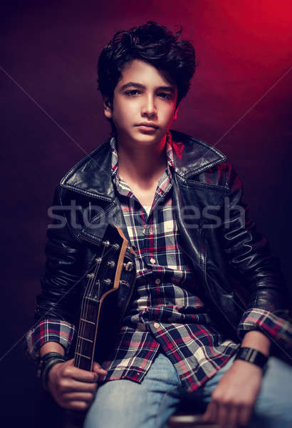 Handsome teen guitarist Stock photo © Anna_Om