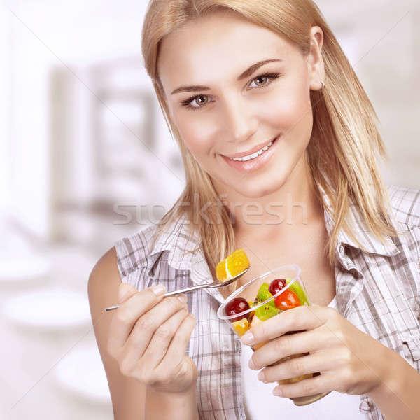 Stockfoto: Genieten · gezonde · voeding · portret · mooie · blond