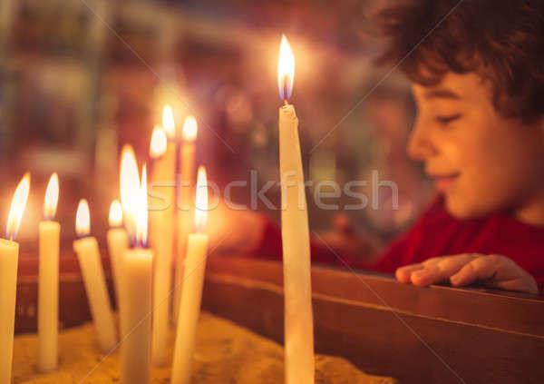 мало мальчика Церкви Пасха свечу Бога Сток-фото © Anna_Om