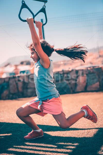Küçük kız spor açık oyun alanı Stok fotoğraf © Anna_Om