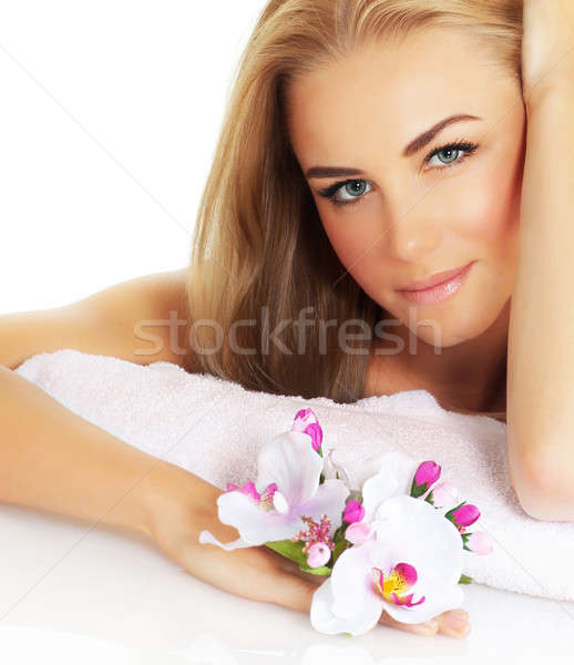 Beautiful woman with flower Stock photo © Anna_Om