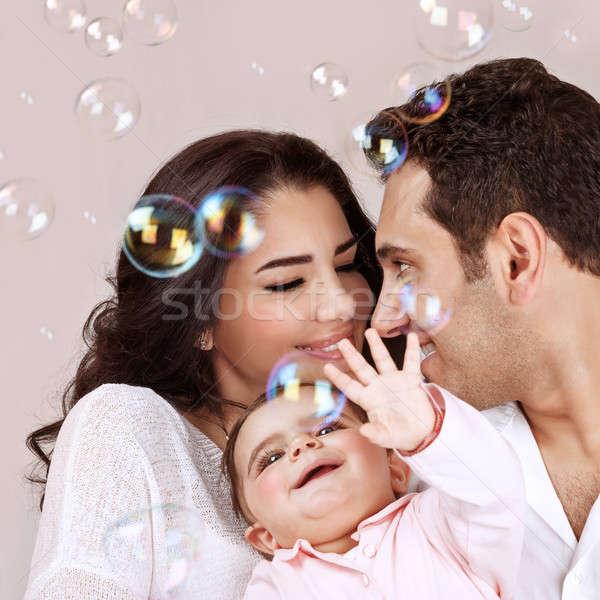 Arabisch cute gelukkig gezichten roze Stockfoto © Anna_Om