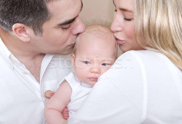 Stockfoto: Jonge · ouders · zoenen · baby · portret