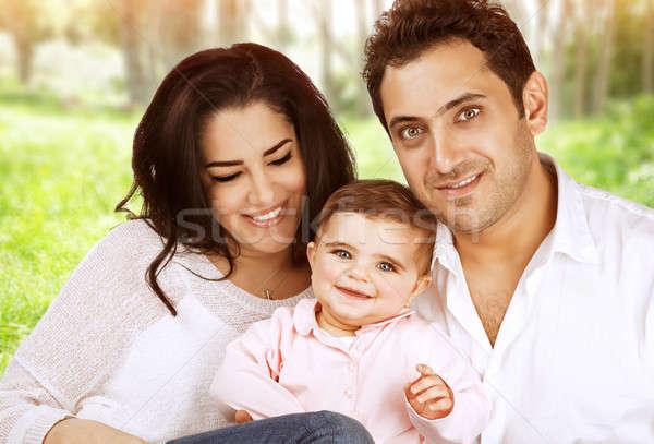 Boldog család portré közelkép aranyos derűs arab Stock fotó © Anna_Om