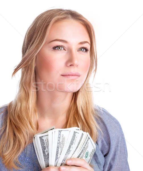 Happy woman with money Stock photo © Anna_Om