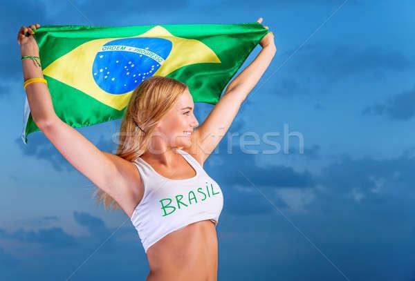 Happy fan of Brazilian football team Stock photo © Anna_Om