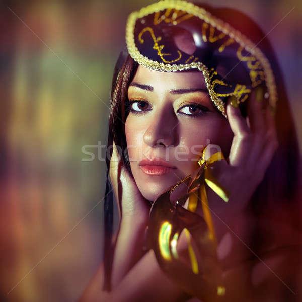 Nő visel velencei maszk portré gyönyörű színes Stock fotó © Anna_Om