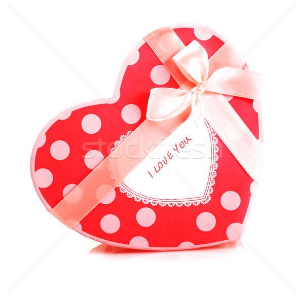 Vermelho caixa de presente quadro belo isolado branco Foto stock © Anna_Om