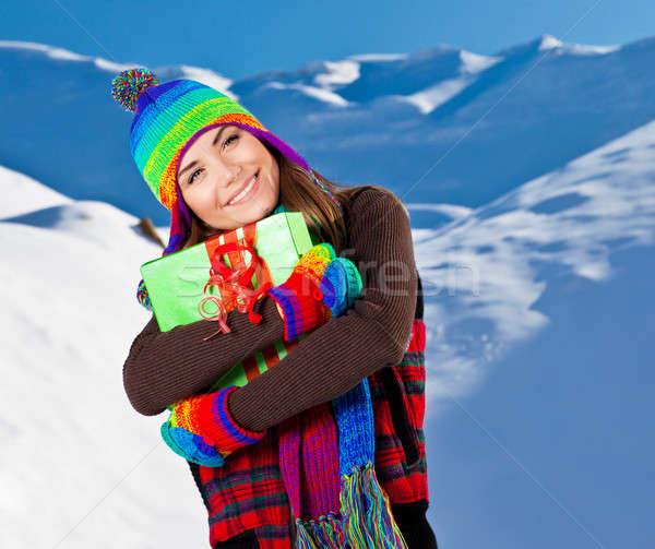 Happy girl with Christmas gift, winter outdoor portrait Stock photo © Anna_Om