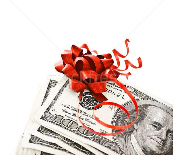 Stok fotoğraf: Para · hediye · kırmızı · yay · şerit · bir