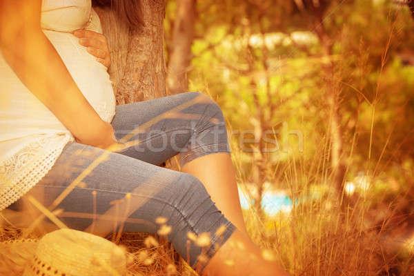 Stock fotó: Terhes · női · őszi · park · megnyugtató · ül