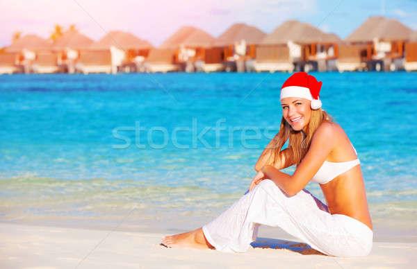 Navidad vacaciones Maldivas mujer bonita sesión playa Foto stock © Anna_Om