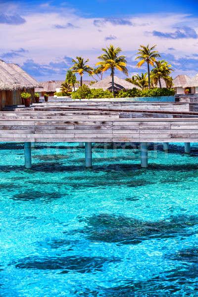 Vacanze Maldive cute piccolo bungalow piedi Foto d'archivio © Anna_Om