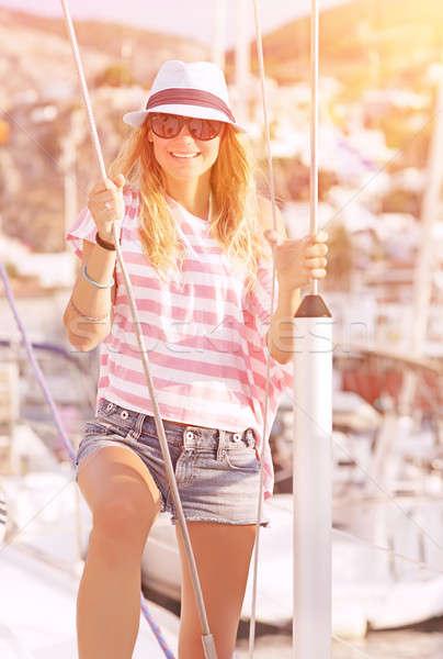 Luxury photoshoot on sailboat Stock photo © Anna_Om