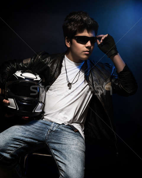 Stylish teen boy biker Stock photo © Anna_Om
