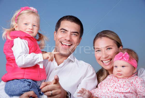 Boldog család portré áll kék tiszta égbolt szülők Stock fotó © Anna_Om