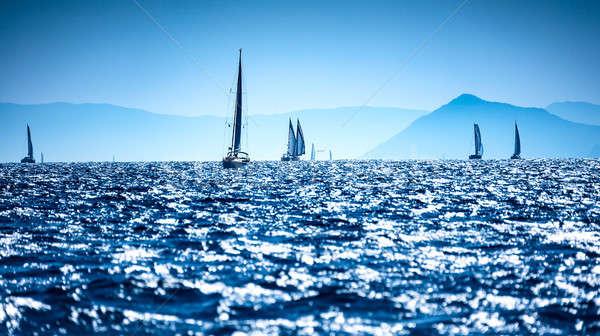 Zeilboten zee water racing regatta middellandse zee Stockfoto © Anna_Om