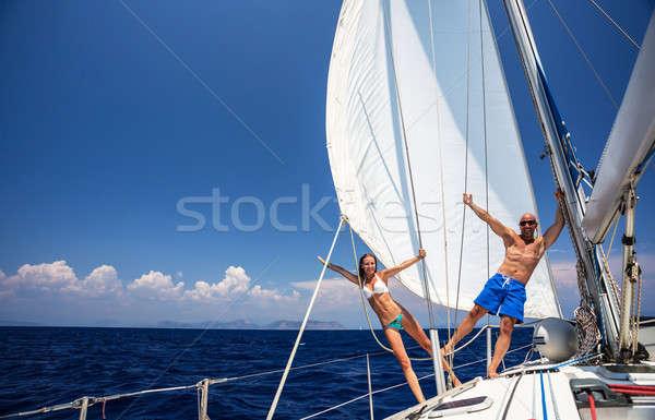 Boldog pár vitorlás szórakozás fiatal család Stock fotó © Anna_Om