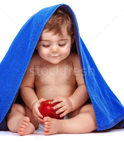 Foto stock: Feliz · nino · fruta · fresca · aislado · blanco · cute