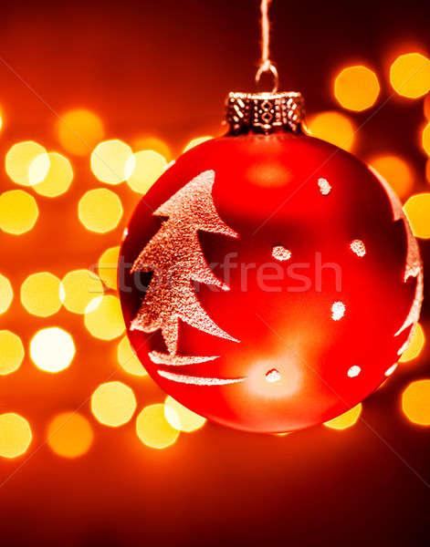 Rot Weihnachtsbaum Spielerei Baum Ornament Stock foto © Anna_Om