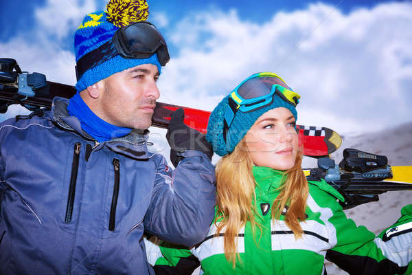 Portrait of a nice couple playing winter sports Stock photo © Anna_Om