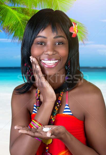 Kadın plaj portre güzel Stok fotoğraf © Anna_Om