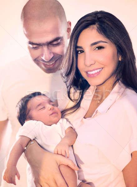 Jovem família feliz retrato bonitinho adorável recém-nascido Foto stock © Anna_Om