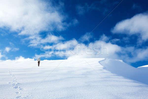 Stock fotó: Nő · hegyek · utazó · aktív · életstílus · sétál