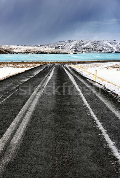 Road along frozen lake Stock photo © Anna_Om