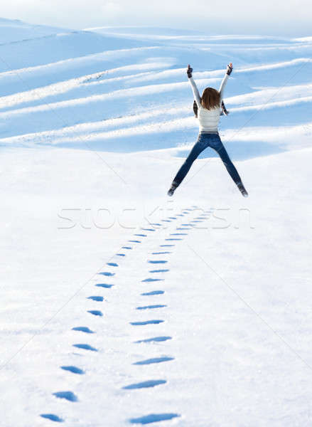 Happy woman jumping at winter mountains Stock photo © Anna_Om