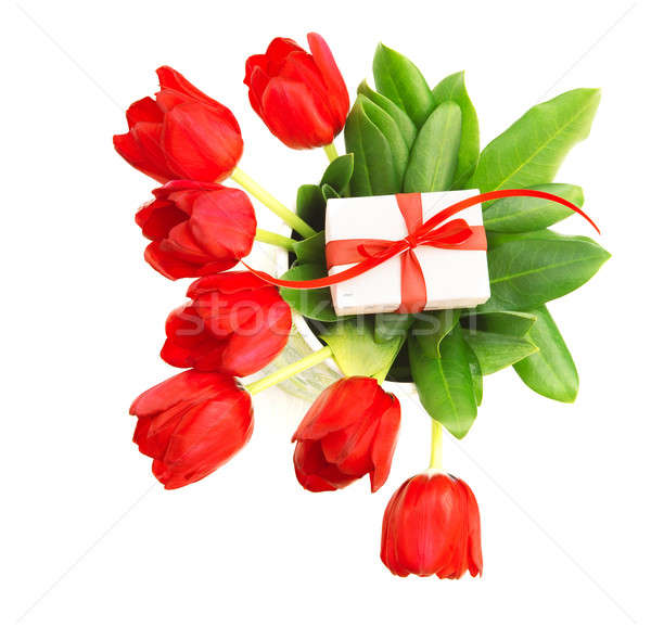 Red tulips with giftbox Stock photo © Anna_Om