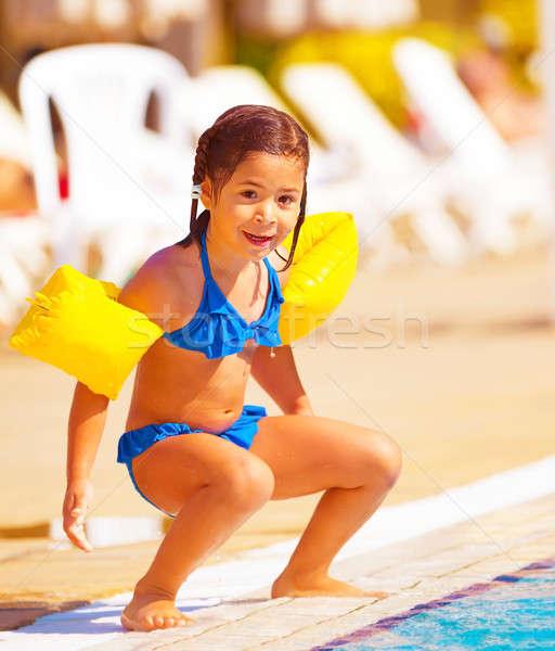 Stok fotoğraf: Küçük · kız · atlamak · su · sevimli · havuz